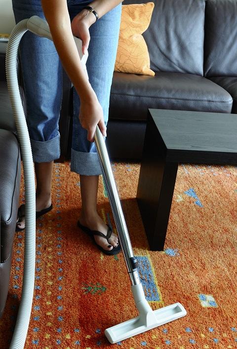 Vacuuming a carpet